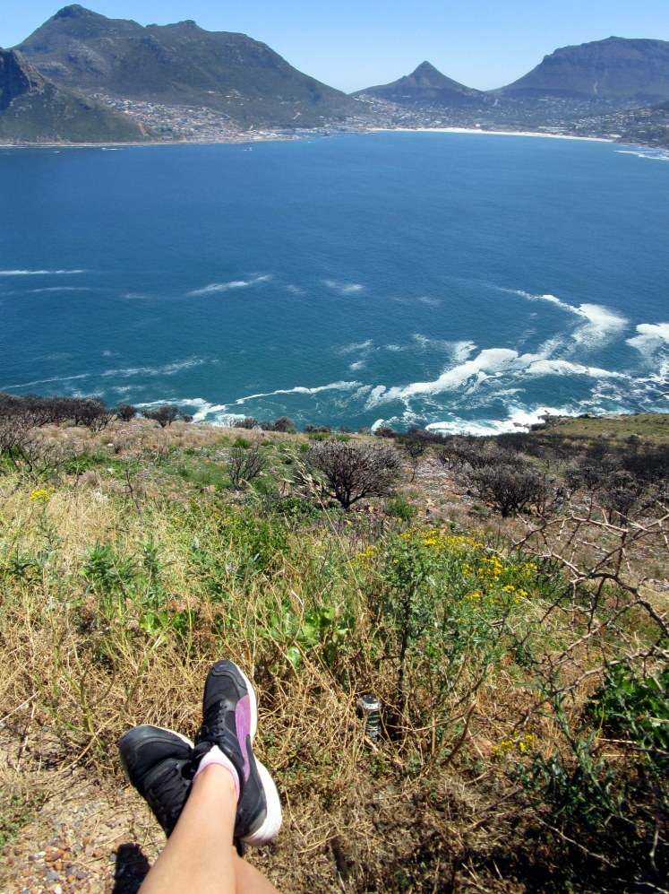 Cycling up Chapmans Peak from Hout Bay
